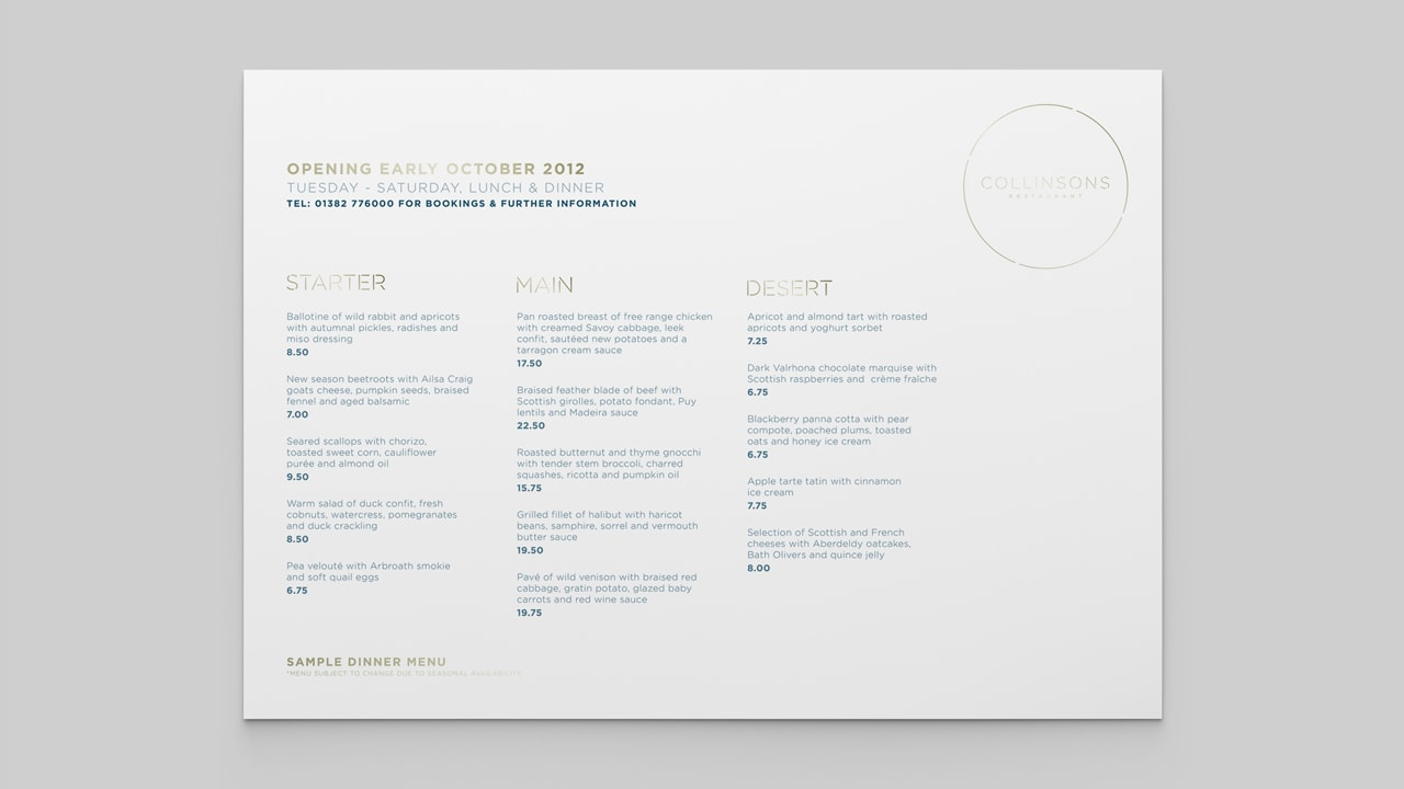 Collinsons Restaurant - Menu Design