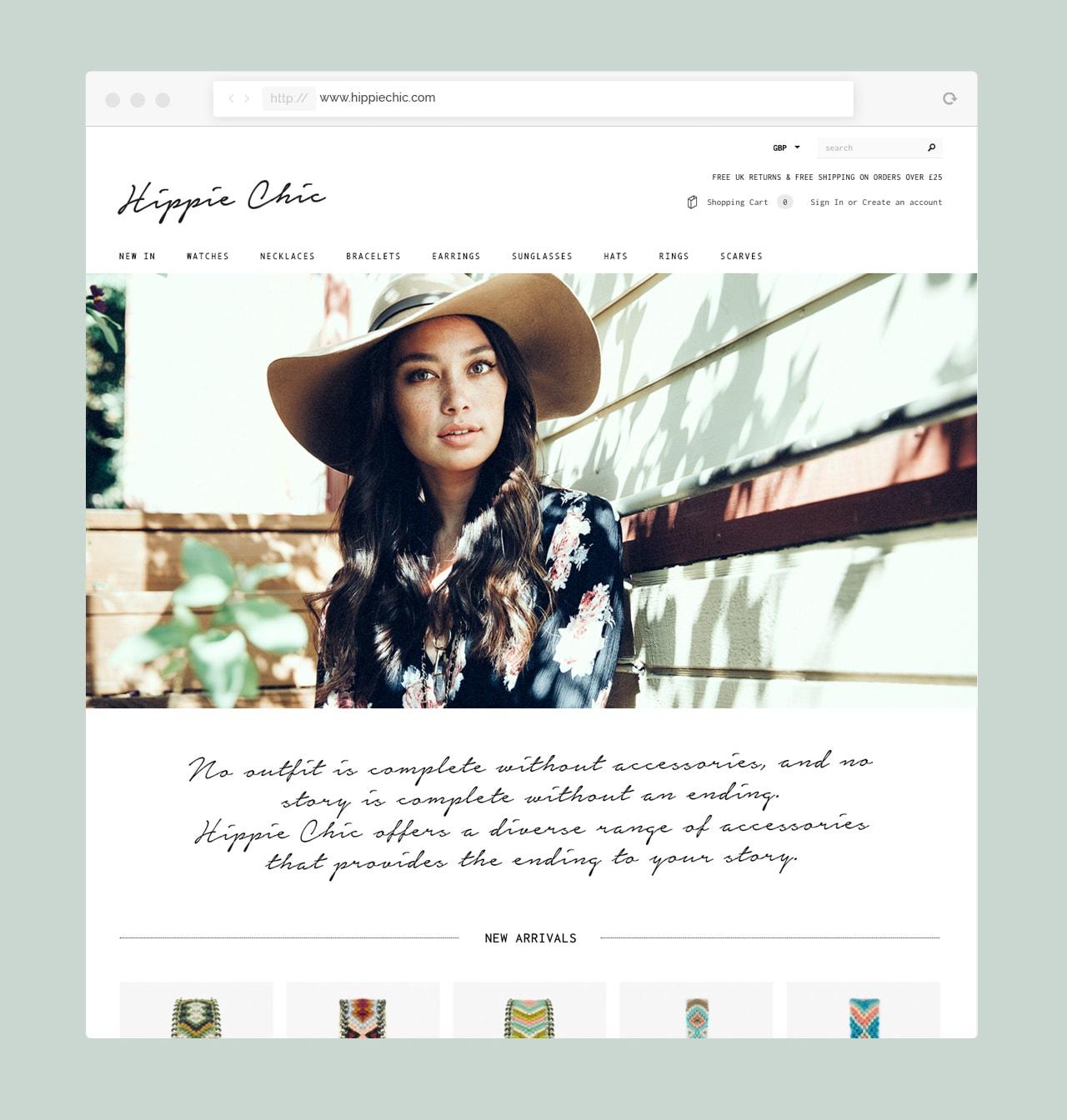 Hippie Chic Website Design